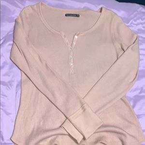 baby pink half button down long sleeve